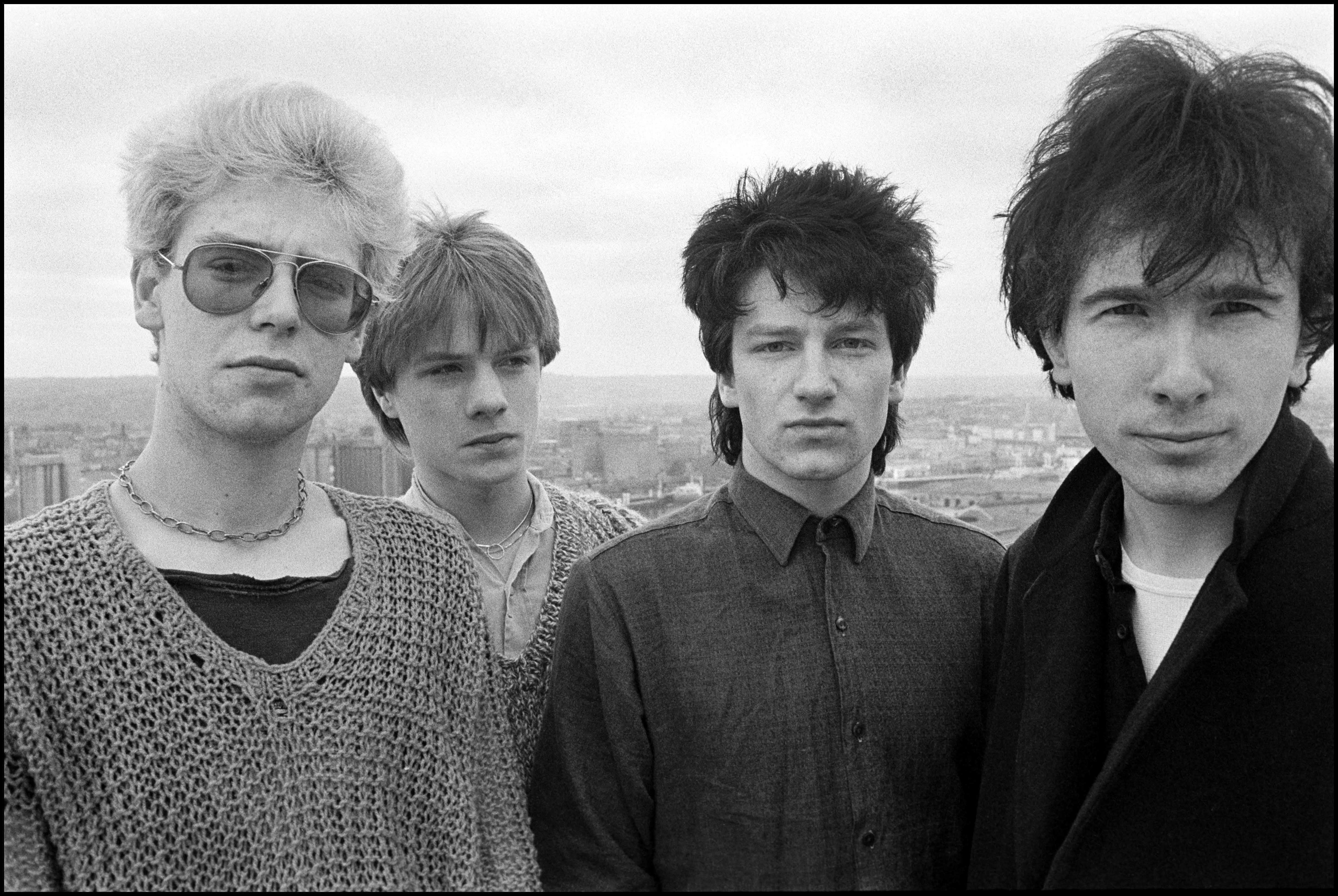 U2 on the roof of the Cork Country Club Hotel, Cork, Ireland March 2 1980