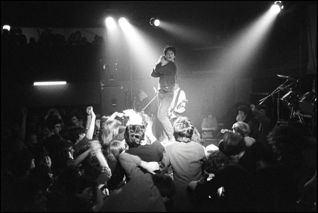 Bono of U2 performing at the Arcadia Ballroom, Cork, Ireland on March 1 1980