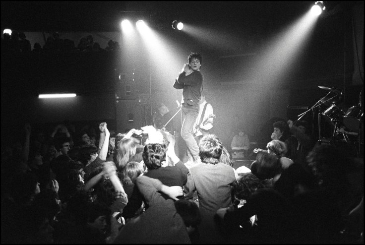 Bono of U2 performing at the Arcadia Ballroom, Cork, Ireland on March 1 1980